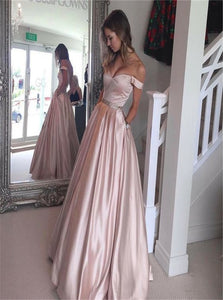 Off the Shoulder Ball Gown Pearl Pink Prom Dresses with Pockets