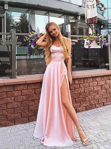 A Line Sweetheart Spaghetti Straps Slit Pink Floor Length Prom Dresses