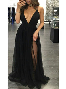 V Neck Tulle Sleeveless Black Prom Dresses With Sweep Train