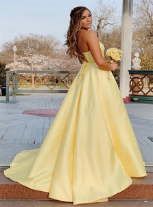 A Line Yellow Lace Up Satin Prom Dresses with Beadings
