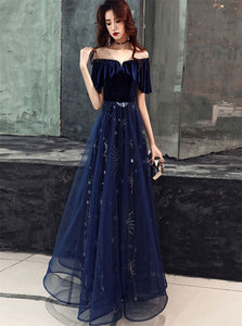 A Line Dark Blue Tulle Prom Dresses with Pleats