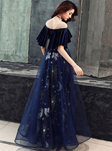 A Line Half Sleeves Floor Length Dark Blue Prom Dresses