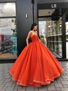 Ball Gown Strapless V Neck Sweep Train Prom Dresses with Pleats
