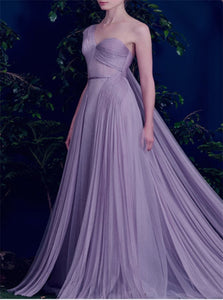 A Line One Shoulder Tulle Prom Dresses with Pleats