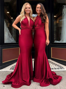 Mermaid V Neck Burgundy Satin Prom Dresses