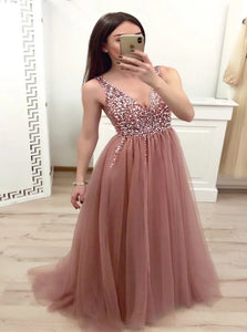 A Line Dusty Rose Tulle Beadings Sweep Train Prom Dresses with Lace Up