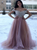 Short Sleeves Sweep Train Blush Pink Appliques Prom Dresses