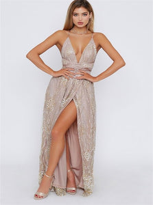 A Line Champagne Floor Length Satin Prom Dresses with Slit