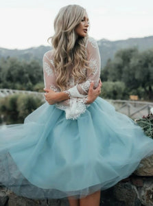 Two Piece Bateau White Lace Long Sleeves Blue Tulle Short Prom Dresses