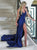 Mermaid Navy Blue Satin Prom Dresses with Sweep Train
