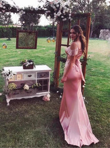 Spaghetti Straps Satin Sheath Drop Sleeves Pink Sweep Train Prom Dresses