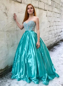Sweetheart Beadings Sweep Train Ball Gown Green Prom Dresses