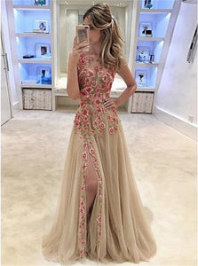 A Line Round Neck Split Tulle Prom Dresses with Floral Appliques