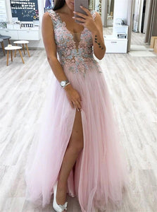 A Line V neck Tulle Slit Floor Length Prom Dresses With Appliques