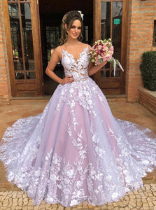 A Line Pink V Neck Tulle Appliques Sweep Train Prom Dresses