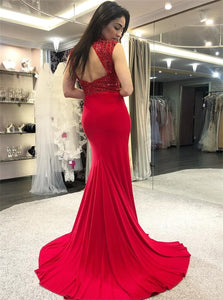 Sexy Mermaid High Neck Open Back Red Prom Dresses