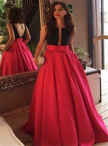 A Line Crew Sweep Train Red Satin Open Back Prom Dress with Bowknot Pockets