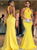 Sheath Halter Sleeveless Ruffles Satin Yellow Prom Dresses