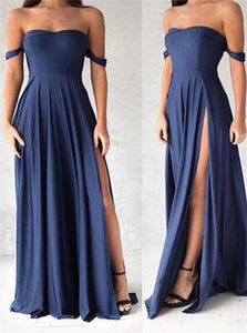 Off the Shoulder Chiffon Navy Blue Prom Dresses