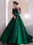 A Line Lace Satin Off the Shoulder Green Prom Dresses