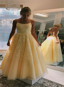 Scoop A Line Tulle Long Prom Dresses With Appliques