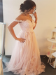 Off the Shoulder Pink Appliques Organza Prom Dresses
