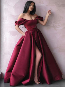 A Line Burgundy Zipper Up Satin Prom Dresses with Slit