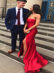 Mermaid Red Sleeveless Strapless Satin Prom Dresses With Slit