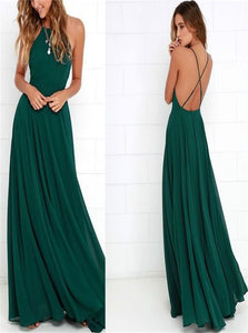 Dark Green Chiffon A Line Criss Cross Pleats Prom Dresses