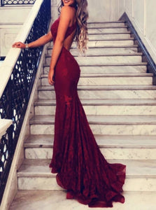 Mermaid Appliques Sleeveless Prom Dresses with Sweep Train