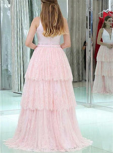 A Line V Neck Sleeveless Lace Pink Prom Dresses With Beadings Tiered