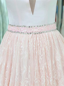 V Neck Lace Pink Prom Dresses With Beadings Tiered