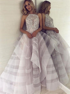 Ball Gown Scoop Tulle Beadings Asymmetrical Prom Dresses