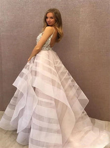 Ball Gown Ruffles Open Back Light Purple Prom Dresses