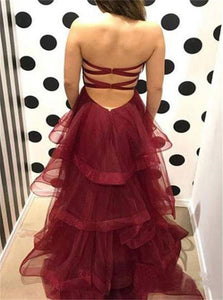 A Line Sweetheart Burgundy Ruffles Organza Layered  Lace Up Prom Dresses
