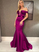 Purple Satin Short Sleeves Prom Dresses with Pleats
