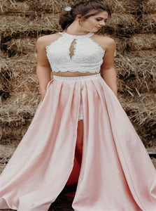Two Piece White and Pink Lace Prom Dresses with Slit and Pocket