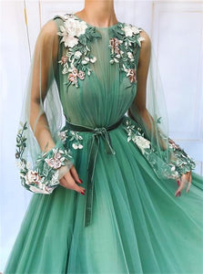 Floor Length Tulle A Line Sweetheart Applique Green Prom Dresses