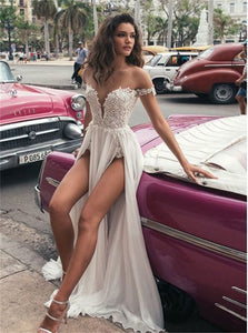 A Line Lace Sleeveless Ivory Prom Dresses with Slit