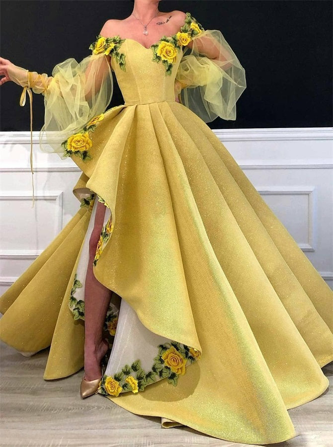 Ball Gown Yellow Long Sleeves Satin Prom Dresses Alinepromdress