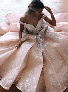 Ball Gown Off the Shoulder V Neck Tulle Lace Prom Dresses