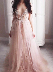 A Line V neck Tulle Split Backless Prom Dresses with Beadings