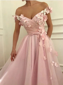 Short Sleeves Pink Sweep Train Prom Dresses with Appliques