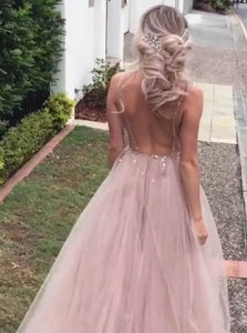 A Line V neck Tulle Split Backless Prom Dresses with Sweep Train