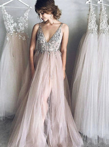 A Line V neck Tulle Split Backless Prom Dresses