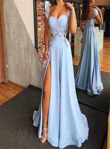 Blue A Line Sweetheart Satin Prom Dresses with Slit