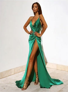 A Line V Neck Green Satin Prom Dresses with Split