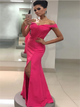 Fuchsia Satin Off Shoulder Long Prom Dresses with Slit