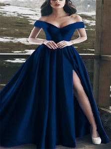 Off the Shoulder Navy Blue Satin Split Prom Dresses