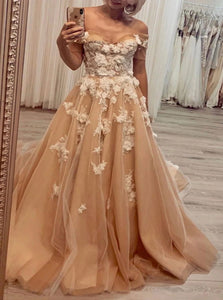 Off the Shoulder Tulle Appliques Sweep Train Prom Dresses